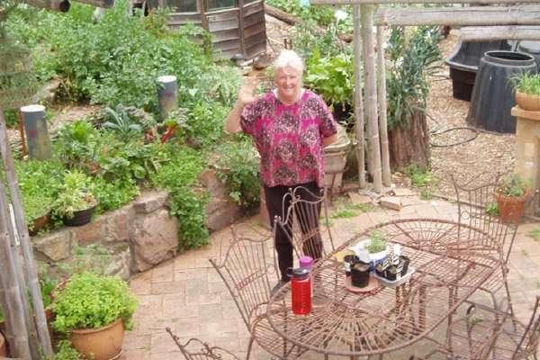 Penny in the kitchen garden